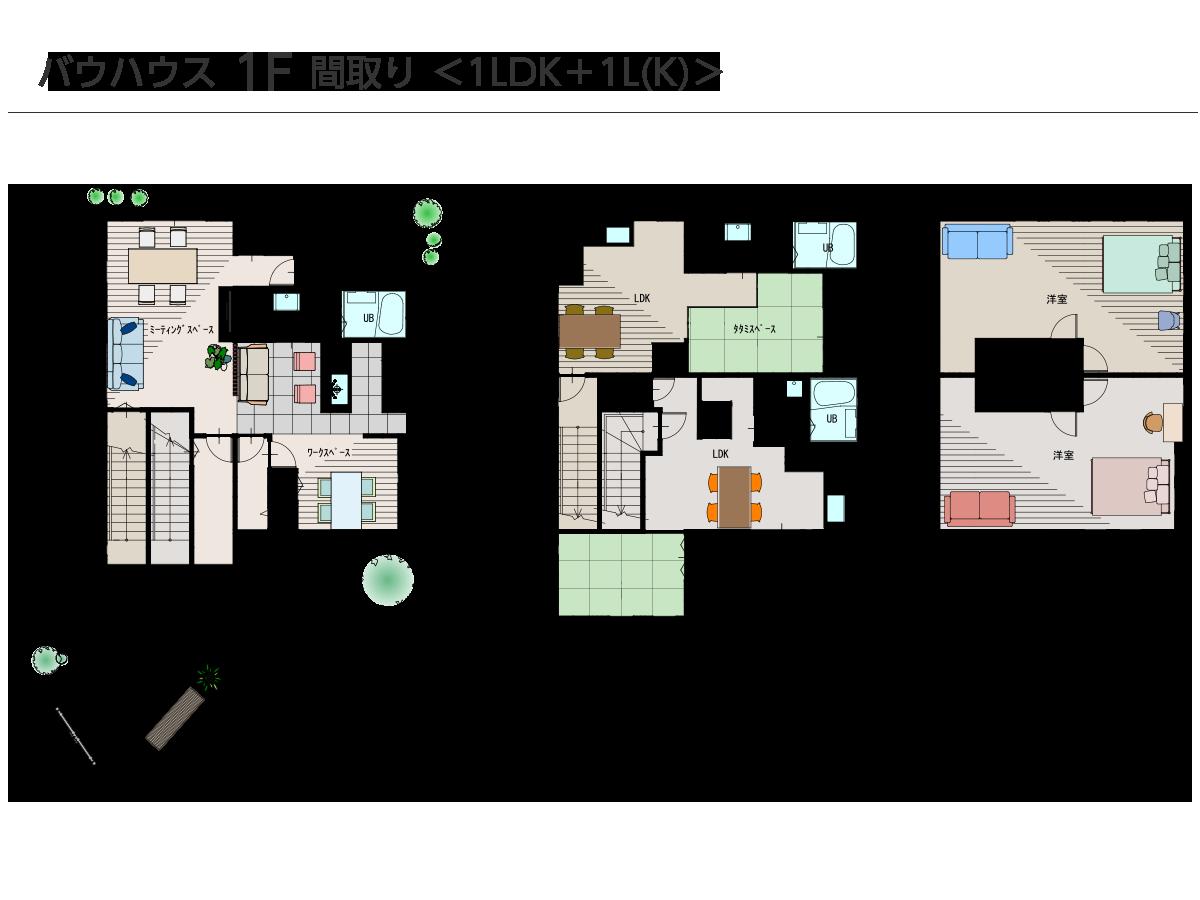 バウハウス 1F 間取り <1LDK+1L(K)>